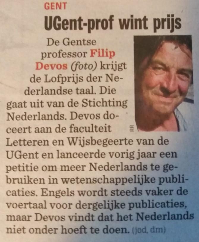 Filip Devos krijgt Lofprijs der Nederlandse taal 2016