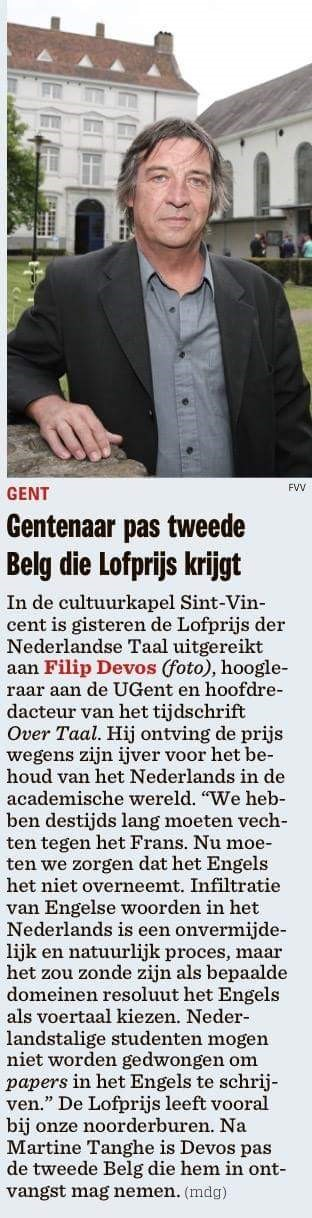 Lofprijs der Nederlandse taal voor Filip Devos