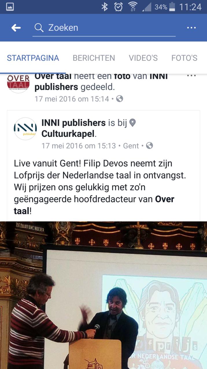 Uitreiking Lofprijs der Nederlandse taal Filip Devos