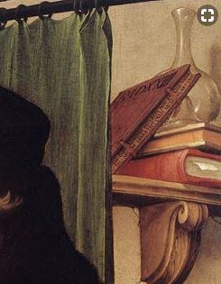 boeken op portret Erasmus Holbein